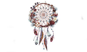Watercolor Boho Dream Catcher Illustration represents new Holiday hours for the Arlene's Native American Gift Stores in Tombstone Arizona.