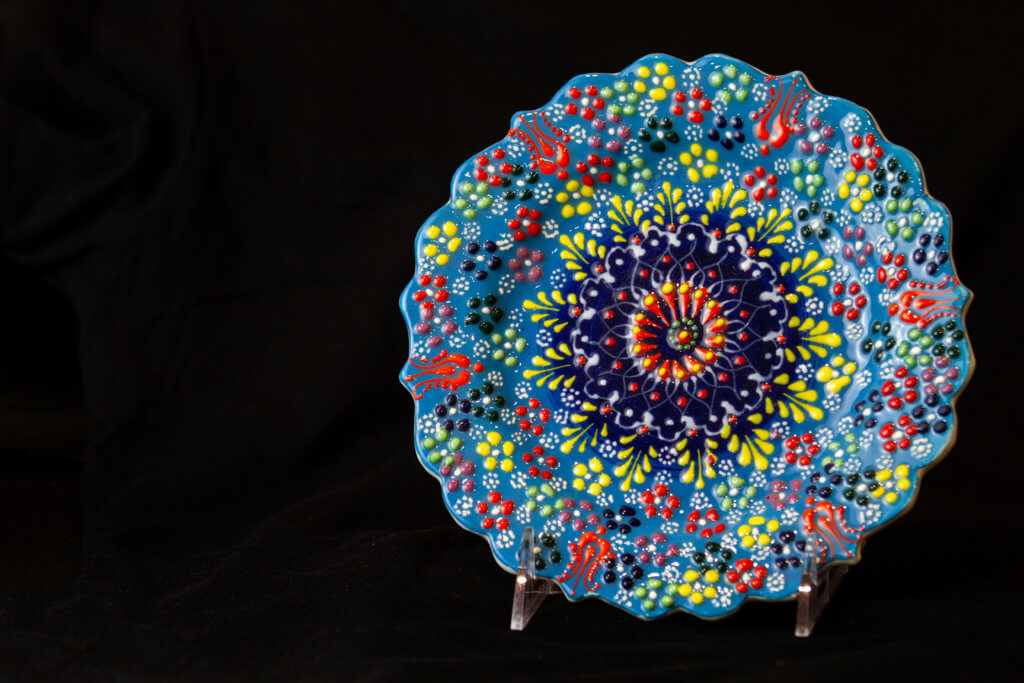 native american plate decorated with bright colors